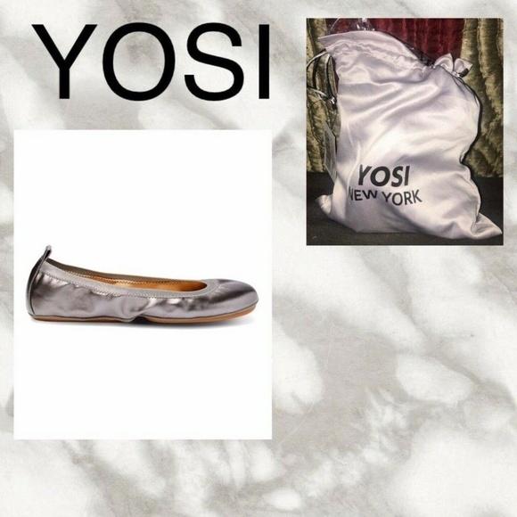 "YOSI, NY~PEWTER METALLIC ""LEXINGTON"" BALLET FLAT, FOLDABLE WITH STORAGE BAG~US 9"
